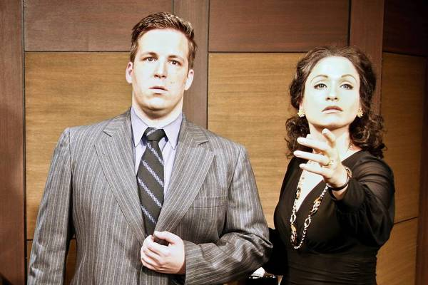 """Kevin R. Siembor as Tony and Kelli Harrington as Maria Callas in Theo Ubique Cabaret Theatre's production of """"Master Class."""""""