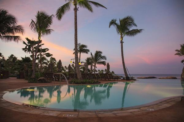 Stunning views of a blue lagoon and the ocean beyond are provided from the new infinity pool at Oahu's Aulani resort in Hawaii.