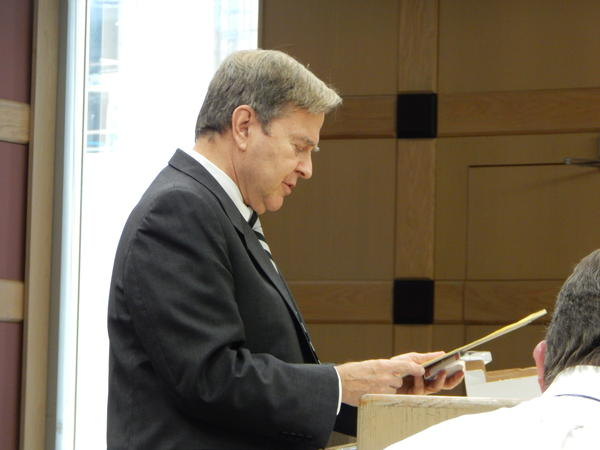 Defense lawyer David Bogenschutz addresses the court on Oct. 7, 2013. Bogenschutz has been ill since Oct. 10, bringing the Gus Boulis murder trial to a standstill.