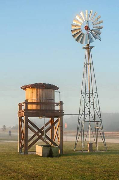 A wind-powered water station for horses is at Osceola's Twin Oaks Conservation Area, which opened Friday.