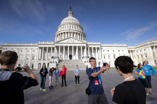 Middle-school students from La Grange, Ill., visit the U.S. Capitol as a partial government shutdown enters its third week.