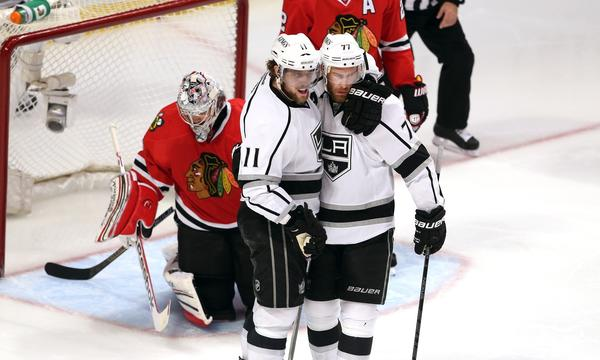Center Anze Kopitar, left, and right wing Jeff Carter could be a high-scoring combination for the Kings.