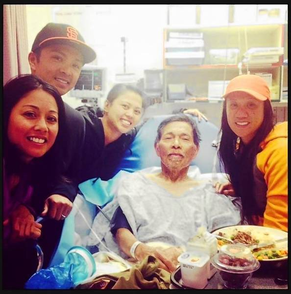 Gene Penaflor, center, with niece Dyna Lopez, left, son Gale Penaflor, niece Alfie Penaflor and daughter-in-law Deborah Penaflor at the Ukiah Valley Medical Center in Ukiah, Calif. Gene Penalfor survived 19 days while lost in the wilderness.
