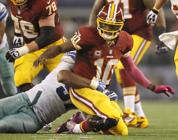 Redskins quarterback Robert Griffin III isn't coming off his best game.