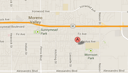 Map shows the location where authorities say a racial epithet was scratched on a woman's care in Moreno Valley.