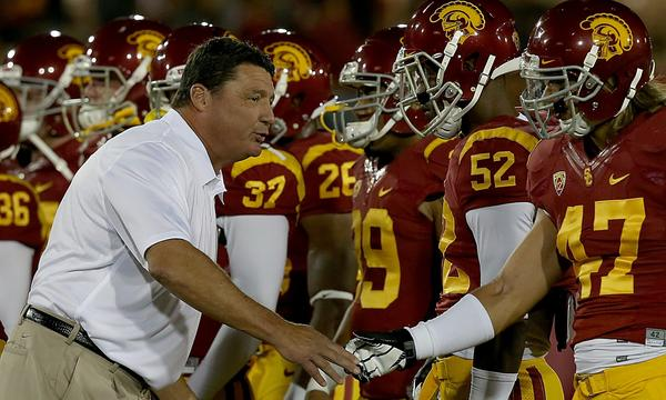 Can Ed Orgeron join a select group of USC coaches who've managed to beat Notre Dame in their first game against the Fighting Irish?