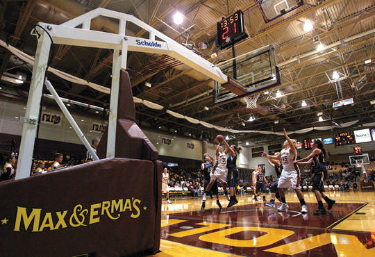 A new set of basketball standards are being used at Wachs Arena for the Northern State University mens and womens basketball games. photo by john davis taken 11/16/2012