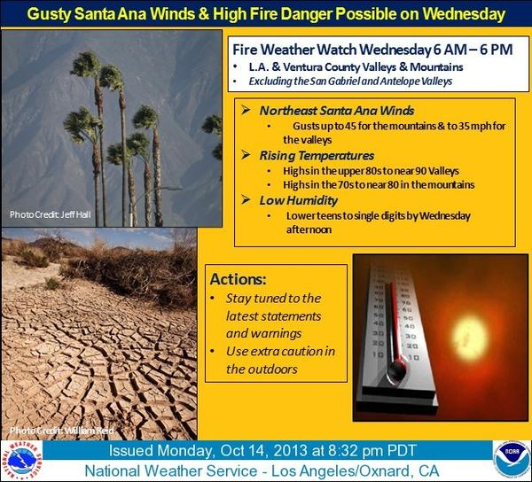 The National Weather Service has issued a fire watch for Wednesday.