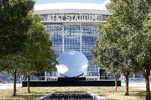 "Anish Kapoor's ""Sky Mirror"" sculpture was unveiled in the east plaza at AT&T Stadium, home of the Dallas Cowboys."
