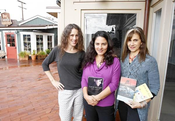 "Three of the six featured authors, left to right, Gayle Brandeis, Mary Castillo, and Barbara DeMarco-Barrett, moderator, will participate in the Laguna Playhouse Woman's ""Memorable Conversations with Six Celebrated Authors"" to benefit the Laguna Playhouse."