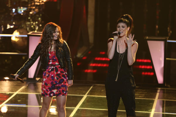 "Singers Jacquie Lee and Briana Cuoco battle on ""The Voice."""