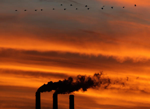 A flock of geese flies past the smokestacks at the Jeffrey Energy Center coal power plant near Emmett, Kan.