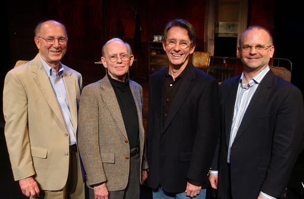 The four artistic directors of Hartford Stage gathered together 10 years ago for the first time for a forum to discuss the four-decade history of the theater. They are Jacques Cartier, Paul Weidner, Mark Lamos, and Michael Wilson.