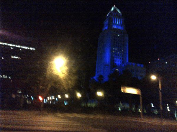 L.A. City Hall was lighted up in Dodger blue early Tuesday following the Dodgers' home win over the St. Louis Cardinals on Monday.