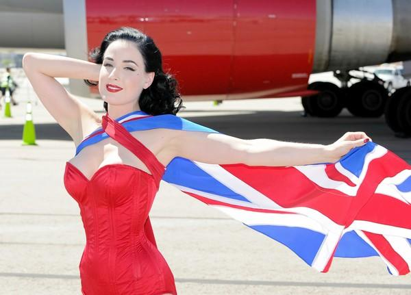 "Burlesque artist Dita Von Teese poses on the tarmac in front of a Virgin Atlantic <a class=""taxInlineTagLink"" id=""HHA000035"" title=""Lungs and Airways"" href=""/topic/health/human-body/lungs-airways-HHA000035.topic"">Airways</a> 747-400 aircraft at McCarran International Airport as part of an appearance with founder and President of Virgin Group <a class=""taxInlineTagLink"" id=""PEBSL000107"" title=""Richard Branson"" href=""/topic/economy-business-finance/consumer-goods-industries/richard-branson-PEBSL000107.topic"">Sir Richard Branson</a> on June 15, 2010, in Las Vegas."