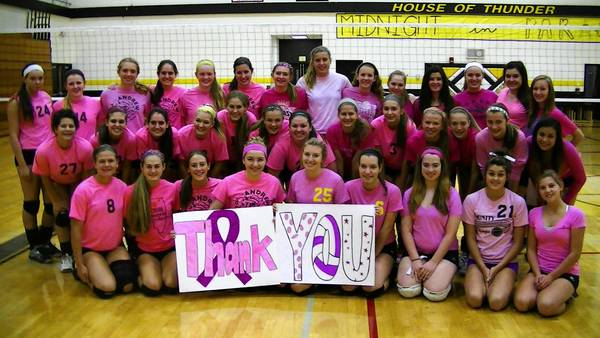 Andrew High School girls volleyball pack the house in pink each year for breast cancer awareness.