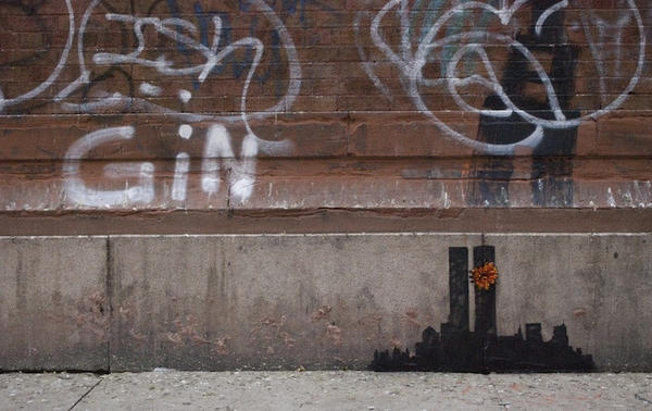 The British street artist Banksy posted on his website a new outdoor work depicting the Twin Towers.