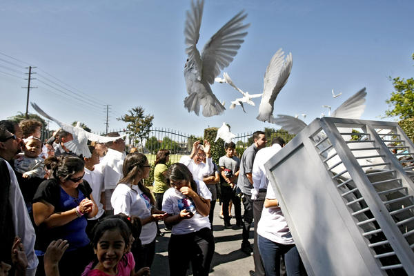 Nineteen doves were released after funeral services for Sameer Nevarez, symbolizing his upcoming 19th birthday, at Pierce Brothers Valhalla in North Hollywood on Saturday, Oct. 12, 2013.