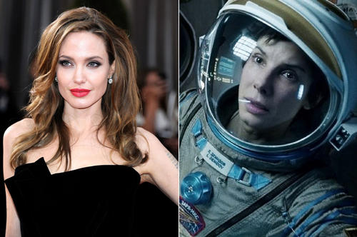 """<strong>The movie: </strong> """"Gravity""""<p> <strong>The role: </strong> Dr. Ryan Stone, the beginner astronaut suddenly stuck in space when her space shuttle is damaged, and her thirst for life deepened.<p>   <strong>The final pick: </strong>  Sandra Bullock. Jolie was set to star alongside Robert Downey Jr. But Jolie's management team wasn't able to come to an agreement with Warner Bros. <br><br>"""
