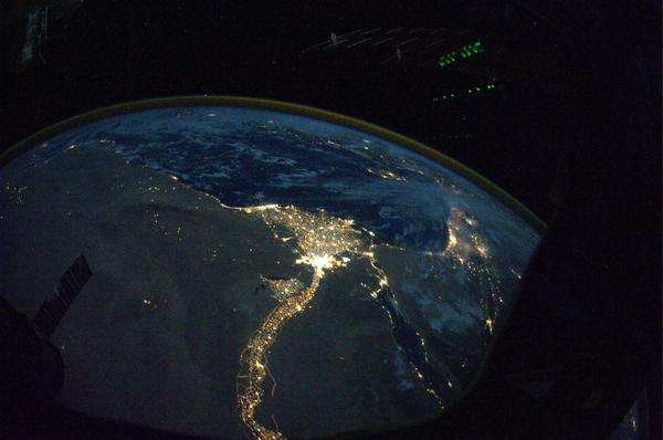 "This October 2010 image provided by NASA from astronaut Douglas Wheelock shows a night view of the Nile River outflow to the Mediterranean Sea. The U.S. government shutdown has cut off commercial sharing of fresh imagery from the International Space Station for the late-night German television program ""Space Night."""