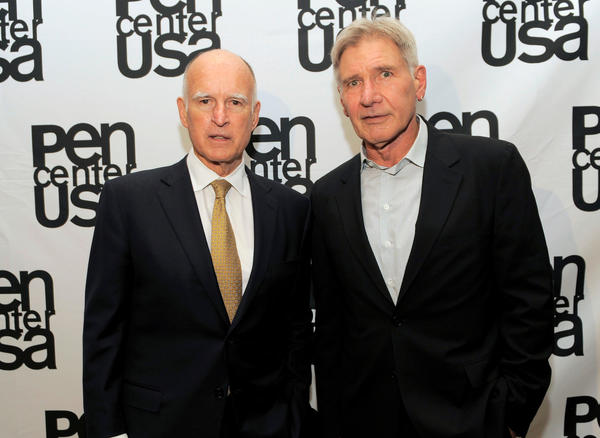 California Gov. Jerry Brown, left, and actor Harrison Ford honored Joan Didion at the PEN Awards -- but Didion was not able to attend.