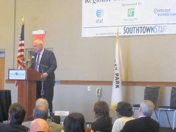 Gov. Pat Quinn addresse the Southland Chamber of Commerce at the Tinley Park Convention Center Monday afternoon.