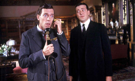 Hugh Laurie, left, and Stephen Fry as Bertie and Jeeves (still funnier on the page).