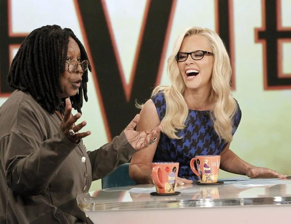 "Jenny McCarthy (right) with Whoopi Goldberg on ABC's ""The View."""