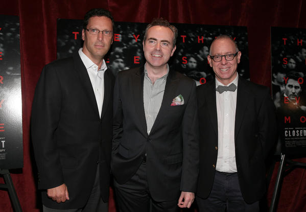 """Co-chief executive of Focus Features Andrew Karpen, left, director John Crowley and then-CEO of Focus James Schamus attend a screening of """"Closed Circuit"""" in August in New York."""
