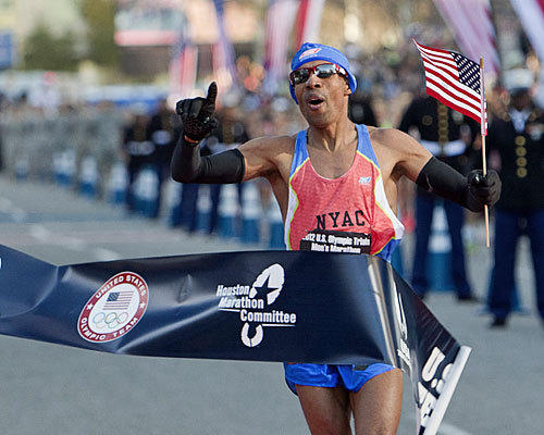 Meb Keflezighi crosses the finish line at the U.S. Marathon Olympic Trials in 2012 in Houston.