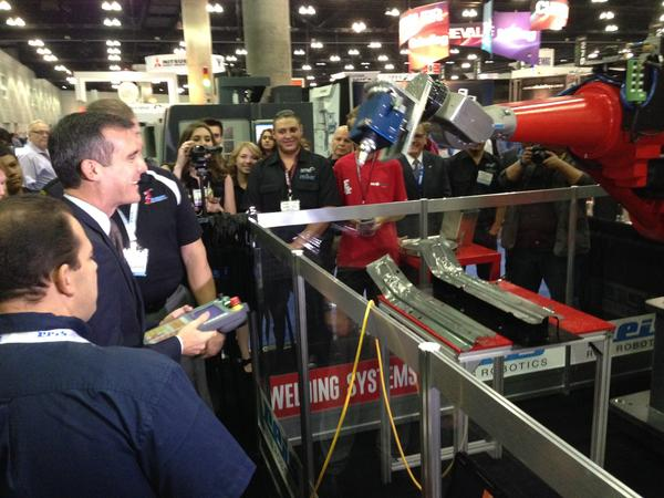 Los Angeles Mayor Eric Garcetti toured the WESTEC manufacturers convention on Tuesday in downtown Los Angeles.