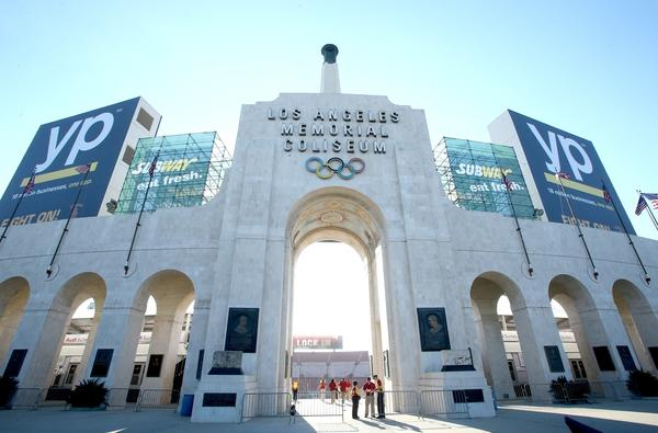 An exterior view of the Los Angeles Coliseum before the game between the Washington State Cougars and the USC Trojans on Sept. 7.