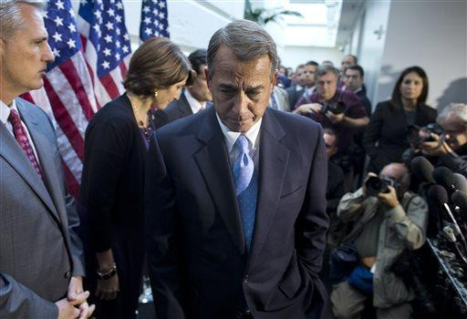 House Speaker John A. Boehner (R-Ohio) leaves a news conference after a House GOP meeting on Capitol Hill. His efforts to craft an alternative to a Senate budget deal collapsed.