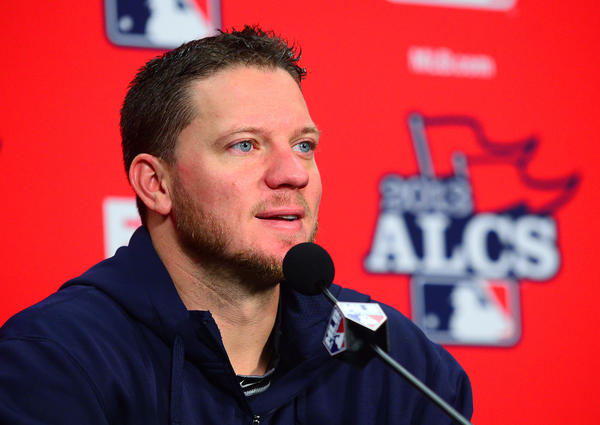 Red Sox starting pitcher Jake Peavy addresses the media prior to Game 3.