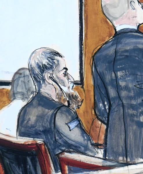 A courtroom artist's sketch shows Nazih Abdul-Hamed Ruqai, seated, with attorney David Patton in federal court in New York. The charges against Ruqai include conspiracy to kill U.S. citizens and conspiracy to destroy U.S. property.