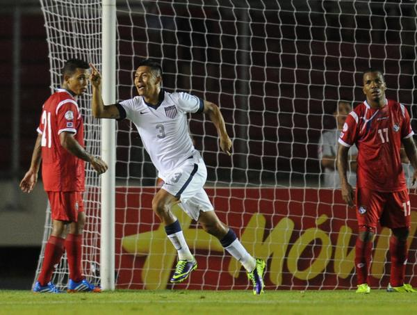 Michael Orozco celebrates after scoring a goal against Panama.
