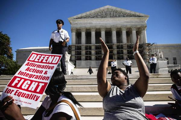 Students protest bans on affirmative action in state university admissions as the Supreme Court hears arguments from both sides.