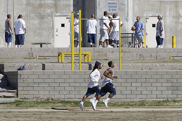 Inmates in the exercise yard at California State Prison Sacramento earlier this year.