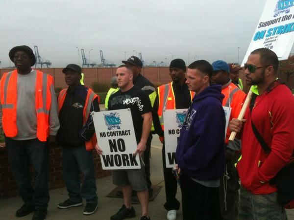 Workers with the International Longshoremen's Association Local No. 333 are on strike.