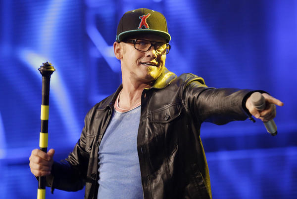 TobyMac performs at the Dove Awards on Tuesday in Nashville. The veteran rapper was named artist of the year.