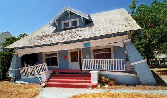 A house damaged in the 1994 Northridge earthquake.