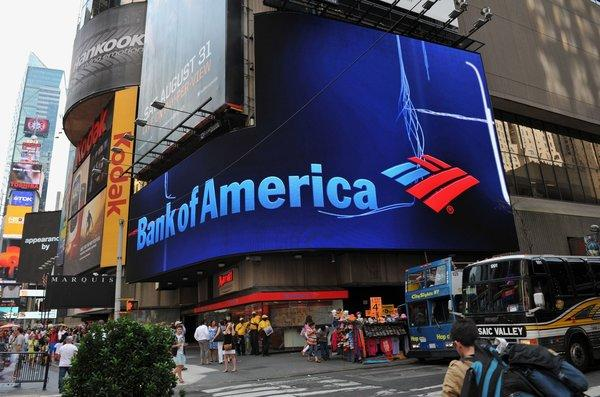 Bank of America posted better-than-expected third-quarter earnings. Above, a BofA branch in New York's Times Square.