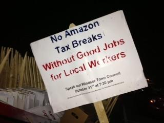 Some Windsor officials, residents and union officials oppose giving Amazon tax breaks to move to town unless the company agrees to hire a minimum number of Windsor residents and union workers.