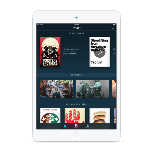 Oyster, a subscription app for e-books, has launched for the iPad.