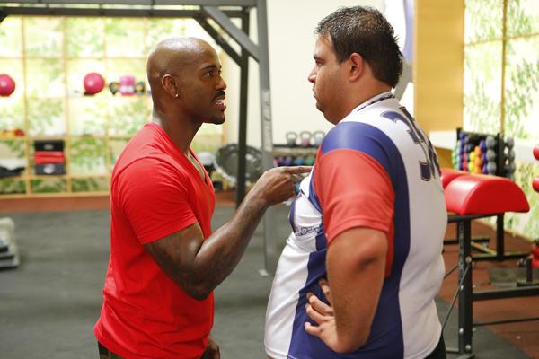 "Trainer Dolvett Quince, left, coaches contestant Bobby Saleem on ""The Biggest Loser."""