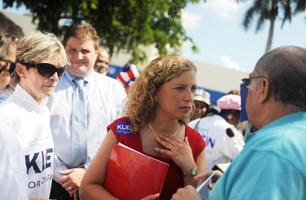 U.S. Rep. Debbie Wasserman Schultz and supporters of Ron Klein lead a protest in front of Republican candidate Allen West's campaign office in Deerfield Beach on Friday October 22, 2010.