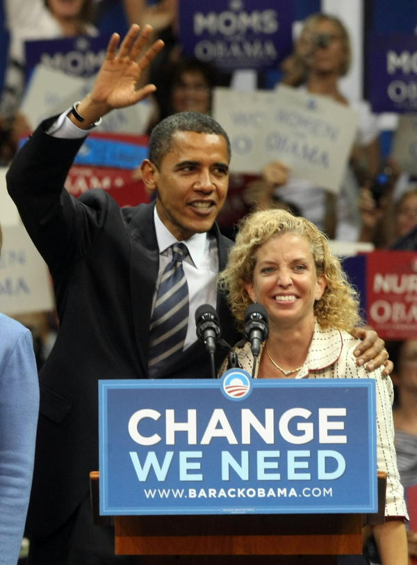 first00a-   Barack Obama and United States Representative Debbie Wasserman Schultz at a Women's Rally for the Change We Need at the Bank United Center at the University of Miami in Coral Gables during the campaign back in September.  SunSentinel staff photograph Mike Stocker
