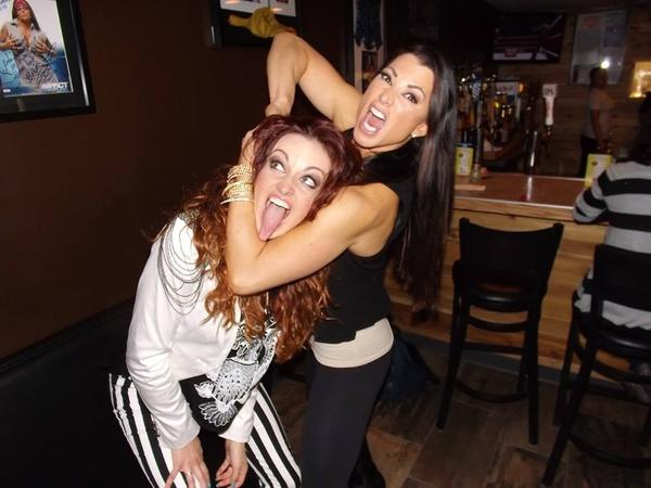 Por wrestlers Maria Kanellis (left) and Lisa Marie Varon (right) at The Squared Circle Oct. 14, 2013.