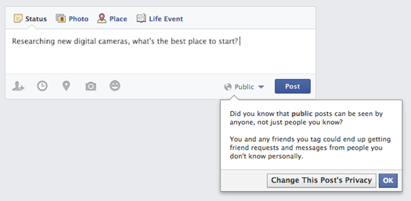 Facebook teen users will now get this message when they try to make posts public.