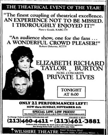 """A 1983 print advertisement in the Los Angeles Times for """"Private Lives"""" at the Wilshire Theatre in Beverly Hills."""